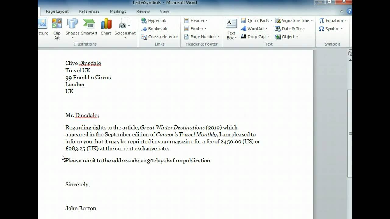 Word 2010 Insert Symbols Microsoft Office 2010 Training Youtube