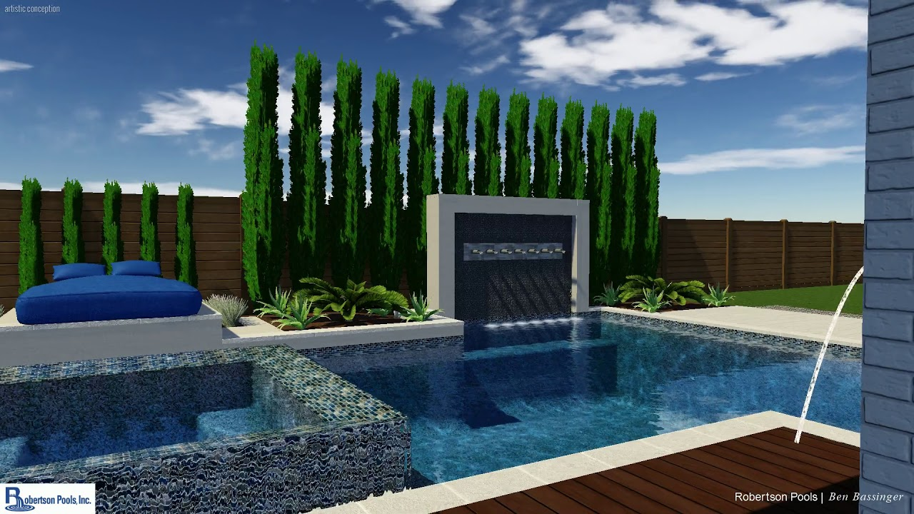 modern pool and negative edge spa with raised tile wall