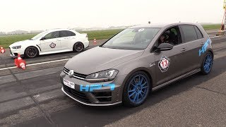 385HP VW Golf 7 R HPT vs. 395HP Mitsubishi EVO X vs. Mercedes-AMG C63!