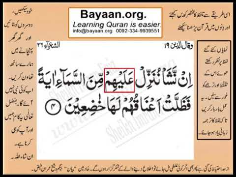 Quran in urdu Surrah 026 Ayat 004 Learn Quran translation in Urdu Easy Quran Learning