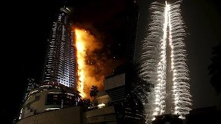 Huge Fire Burns Hotel In Dubai during New Year's Eve 2016 (VIDEO)