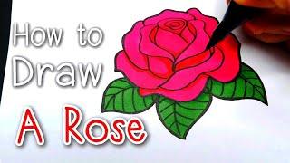 DRAW : A Rose  [ ดอกกุหลาบ ] #สอนวาดรูปแบบง่ายๆ ♥ Valentines day ♥ Easy Tutorial For Beginner