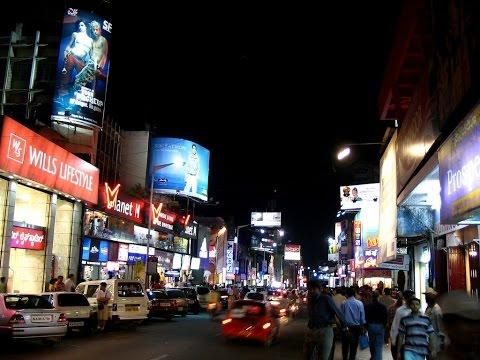 Bangalore at night featuring Brigade Road.