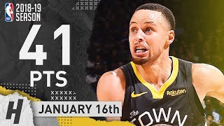 Stephen Curry UNREAL Full Highlights Warriors vs Pelicans 2019.01.16 - 41 Points!