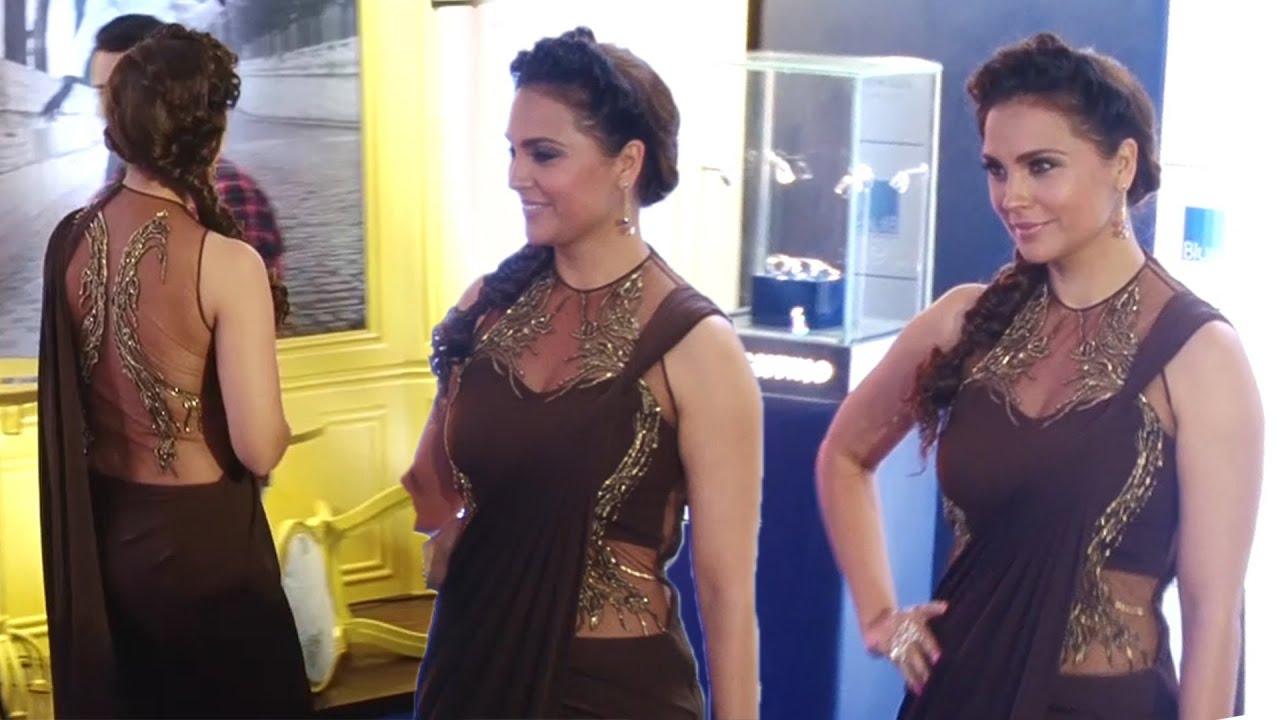 Hot Lara Dutta in Brown Transparent Saree At Opening Celebration Of JOYA