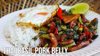Thai Basil Recipe with Pork Belly Pad Kra Pao at Home