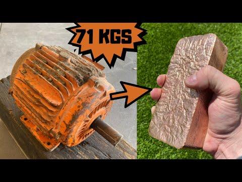 71-kg-motor-melt-down---trash-to-treasure---huge-copper-bar---asmr-metal-melting---casting-copper
