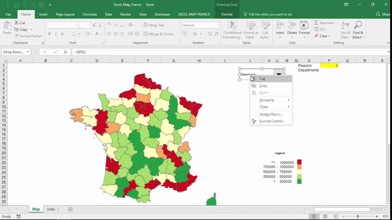 Clear Map Of France.How To Drill Down On Excel Map France