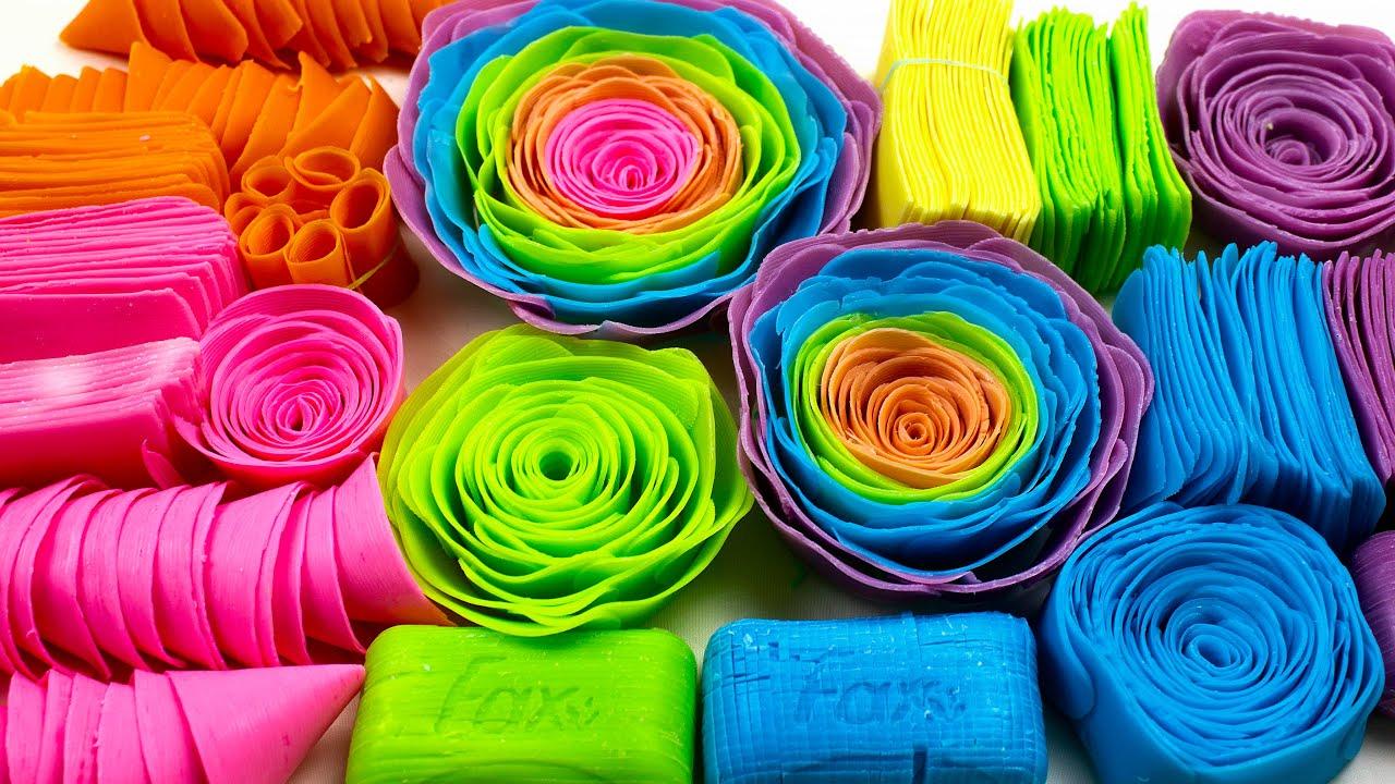 Rainbow Soap 🌈 Dry Cubes Cutting 😍 Crispy Flowers 🌸 Slices 🤤 Cones. For sleep 😴