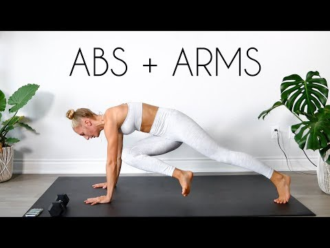 15 min FLAT ABS + TONED ARMS Workout (At Home + Apartment Friendly)