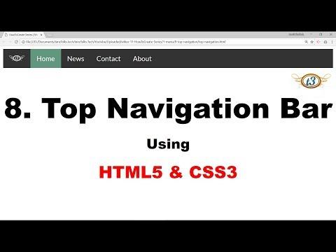 8. Top Navigation Bar | Menu | HowToCreate Series | HTML5 & CSS3