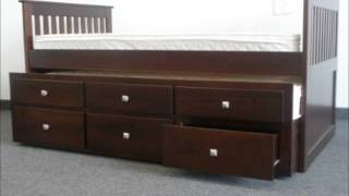 Bedz King Captains Twin Bed With Twin Trundle And 3 Drawers In Cappuccino