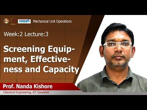 Lec 06 : Screening Equipment, Effectiveness And Capacity