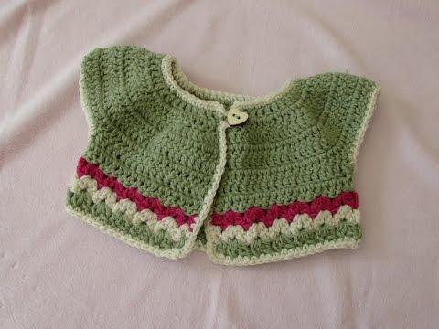 VERY EASY Crochet Baby / Girl's Summer Bolero Tutorial - Crochet Cardigan (part 1)