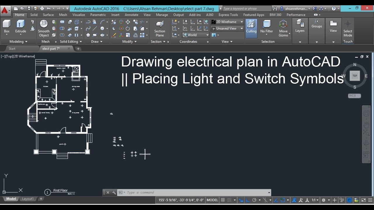 drawing electrical plans in autocad placing light and switch symbols [ 1280 x 720 Pixel ]