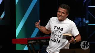 Carlos Speaking During a 2017 Momentum Youth Conference Main Session