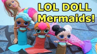 LOL SURPRISE DOLLS Go Swimming Again And Find MERMAID BARBIE And LOL DOLLS Become MERMAIDS!
