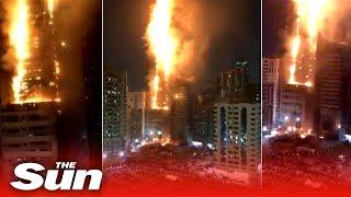 Huge fire engulfs 49-story residential skyscraper in UAE city of Sharjah