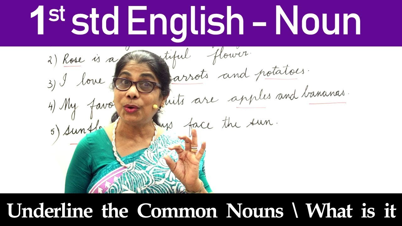 English For Class 1   1st std English   Noun   Underline the Common Nouns    What is it - YouTube [ 720 x 1280 Pixel ]