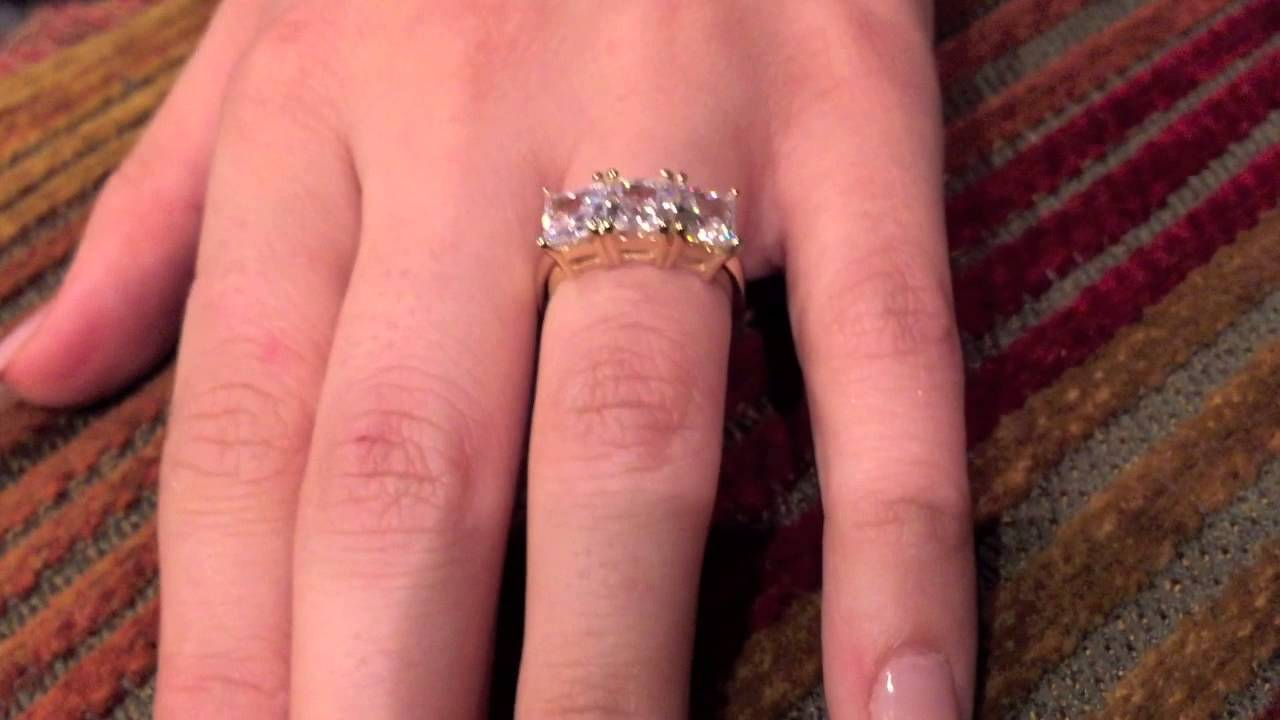 Princess cut 3 stone Finest quality CZ Ring -7086-6951 - YouTube