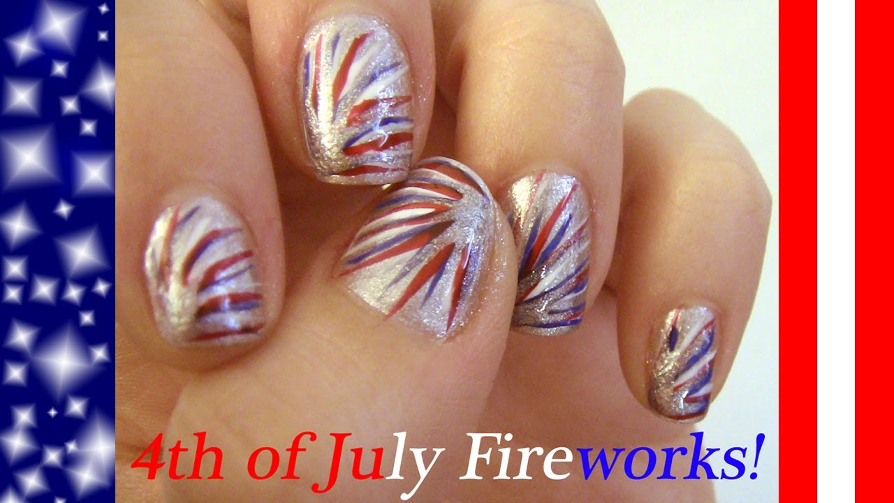 4th of July Independence Day Nail Art Design - Firework Color Explosion! -  YouTube - 4th Of July Independence Day Nail Art Design - Firework Color