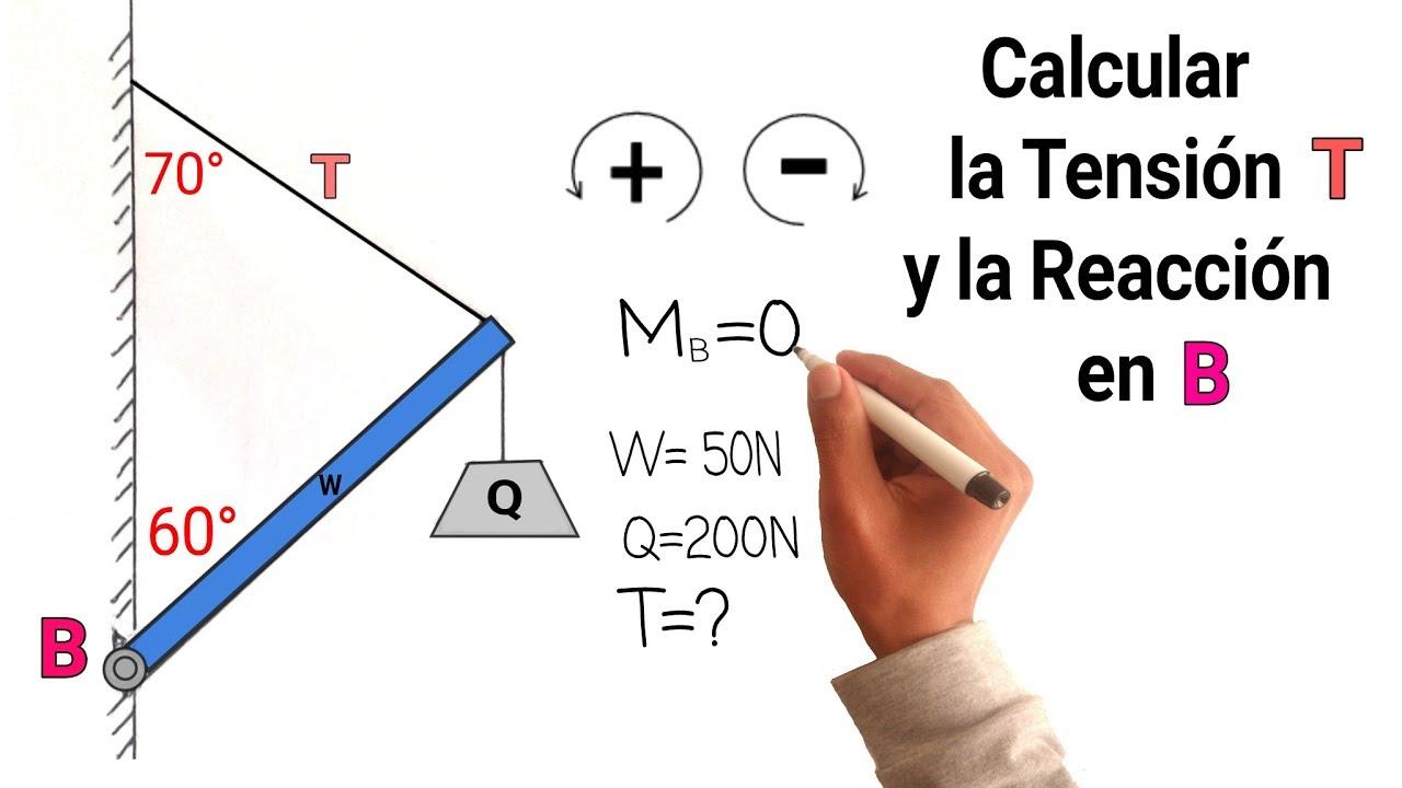 Ejercicio 7 De Estatica Fisica Calcular La Tension De Una Cuerda 3ra Ley Newton Y Reacciones Youtube