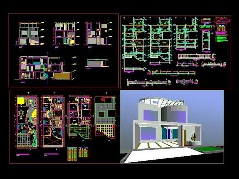 Planos dwg vivienda unifamiliar youtube for Casa minimalista planos dwg
