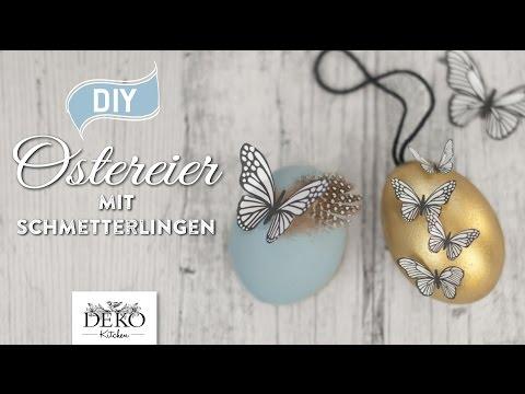DIY: hübsche Ostereier mit Schmetterlingen und Blüten aus Papier basteln [How to] Deko Kitchen