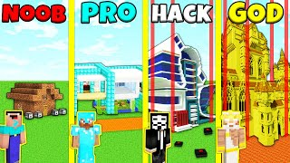Minecraft Battle: SECURE HOUSE BUILD CHALLENGE - NOOB vs PRO vs HACKER vs GOD / Animation