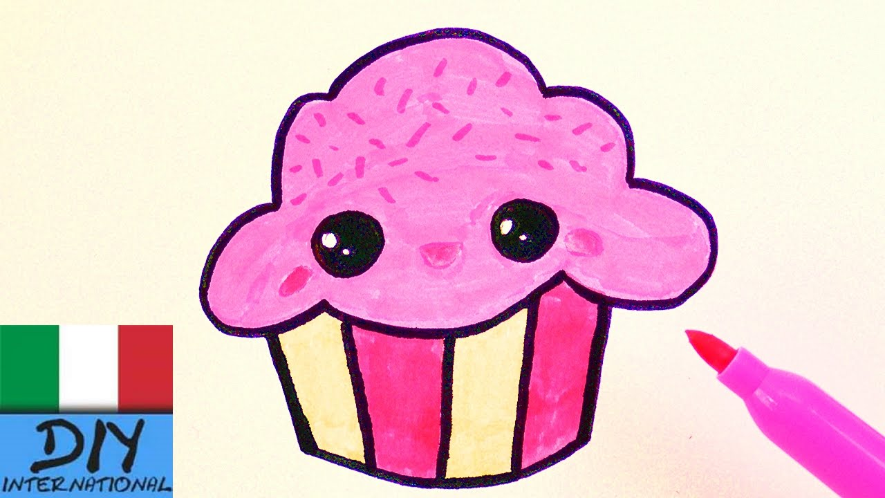 Famoso Disegnare Cupcake Kawaii rosa per compleanni e inviti - YouTube WE24
