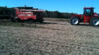 case ih 7120 combine burried with 385 stieger pulling