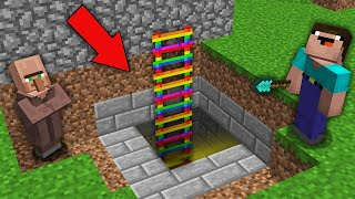 Minecraft NOOB vs PRO: WHY VILLAGER HIDE THIS SECRET RAINBOW LADDER FROM NOOB? 100% trolling
