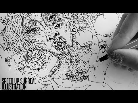 Speed Up Surrealism | Doodle Art Zentangle Art Video Drawing Process B&W Illustration Timelapse