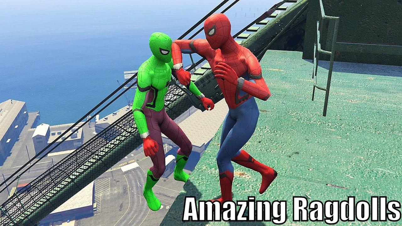GTA 5 Amazing Ragdolls Red Spiderman & Green Spiderman (Euphoria Physics / Funny Moments)