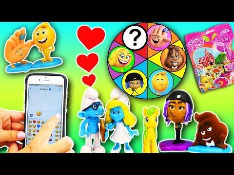 Emoji Movie Spin The Wheel Game with Smurfs Brainy and Smurfette! Gene, Jailbreak, Smiler & Hi-5