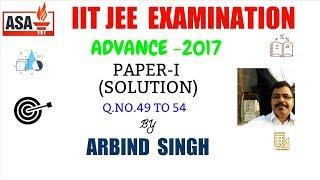 iit jee advance 2017 solution paper 1 mathematics q n 49 to 54