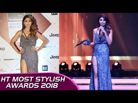 Shilpa Shetty HOT Thigh Show, Thigh High Slit Dress At HT Stylish Awards 2018 thumbnail