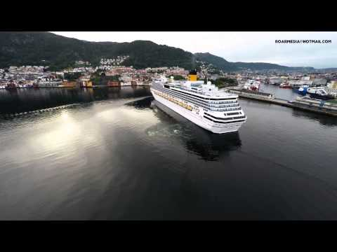 Costa Pacifica arriving Bergen, Norway, (Watch in 4K) Costa Concordia sister vessel