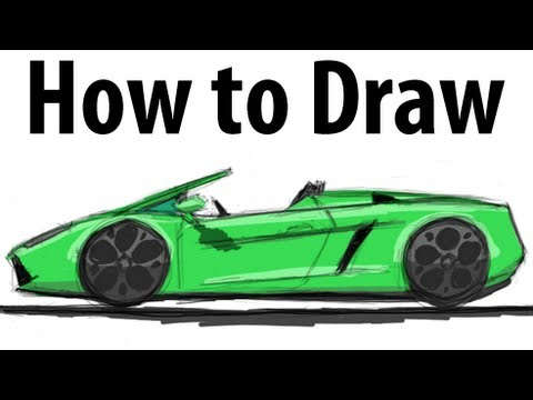 Cobra R Wheels >> How to draw a Lamborghini Gallardo Spyder - Sketch it ...