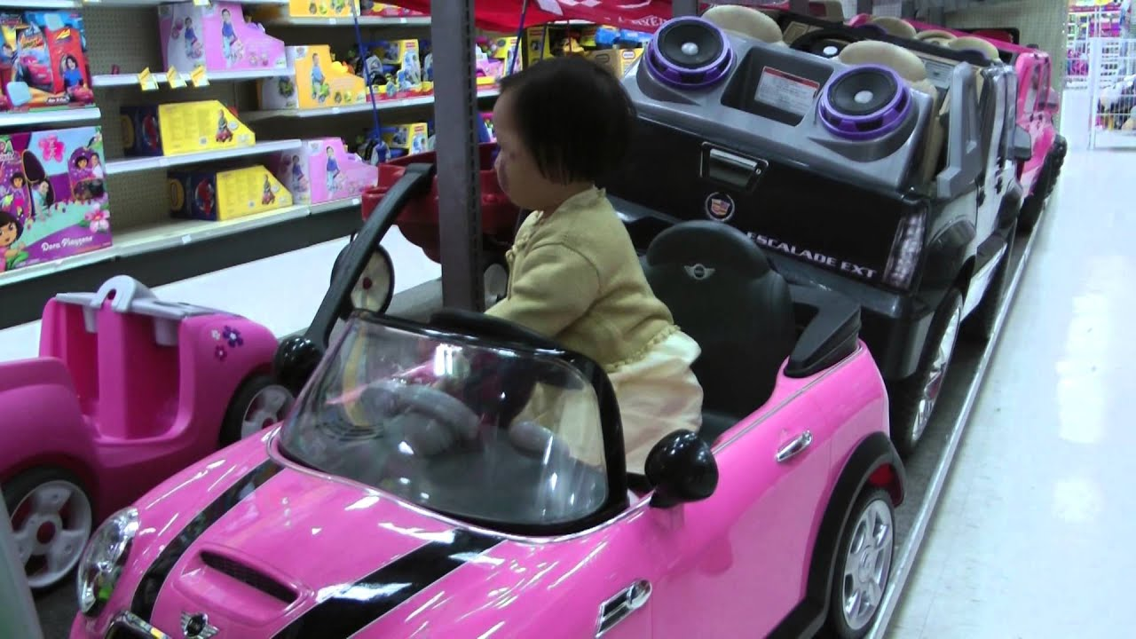 Toy Cars For Girls : Girl on mini cooper toy car youtube