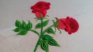How to draw VERY VERY Simple Twin ROSE Beautiful Rangoli Designs with colours | Kolam | Muggulu!