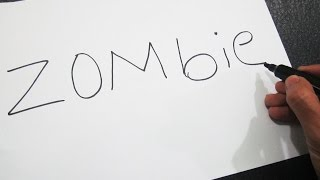 How to turn words ZOMBIE into a Cartoon ! Learn drawing art on paper for kids