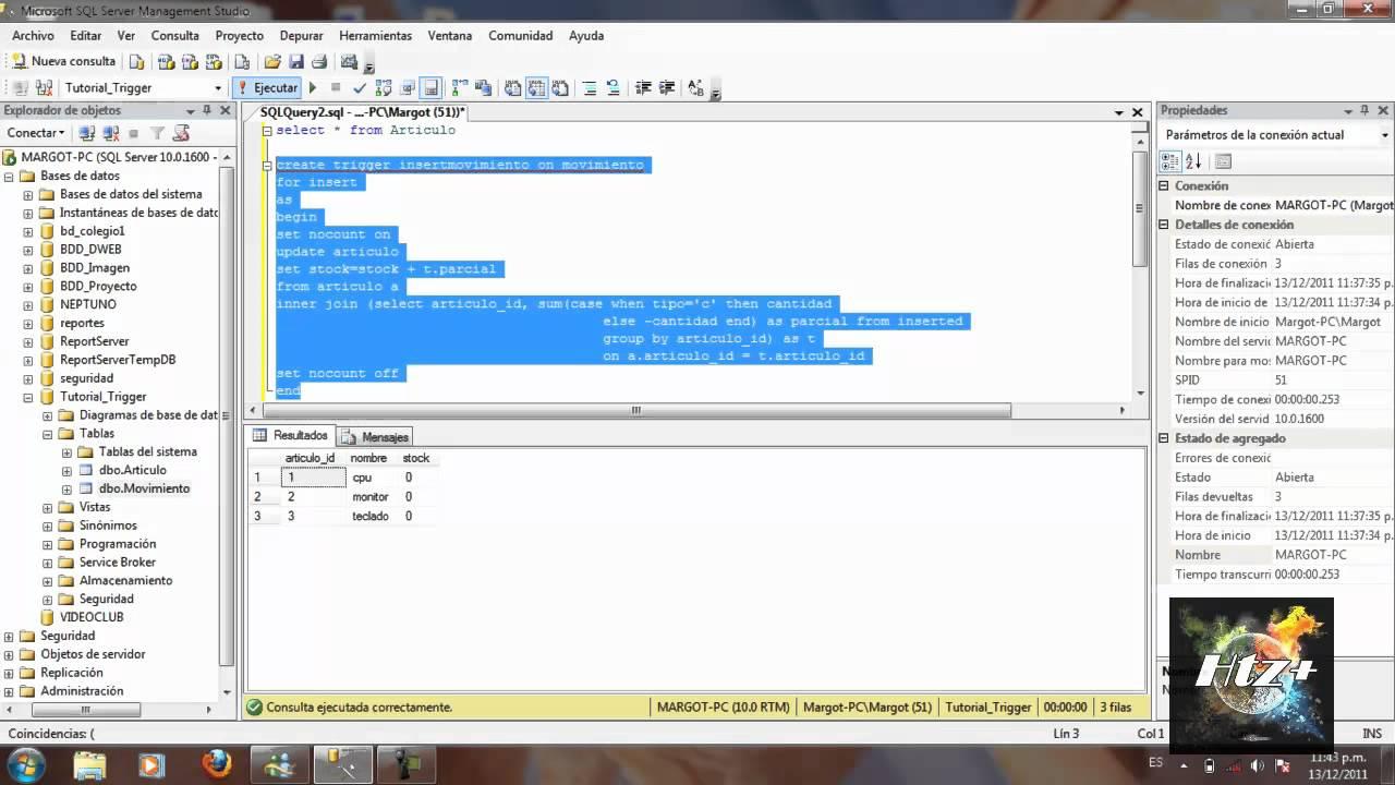 Tutorial ejemplo trigger en sql server 2008 r2 (tema 4) youtube.