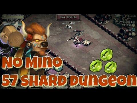Castle Clash Farming 57 Shard Dungeon, No Mino!