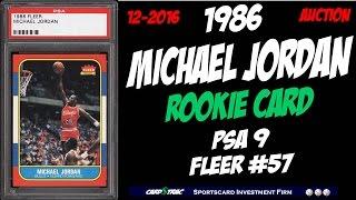 1986 Michael Jordan fleer #57 Rookie Card; graded PSA 9; Michael Jordan Brett rookie card.