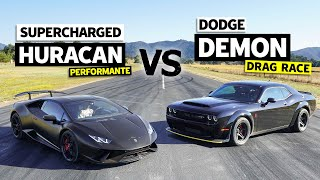 Supercharged Lamborghini vs. Dodge Demon. 800hp Battle! // This vs. That