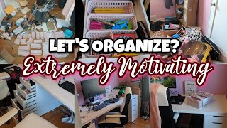 LET'S ORGANIZE?🏠 MOTIVATING CLEAN WITH ME // ORGANIZE+DECLUTTER OFFICE //SAHM CLEANING MOTIVATION