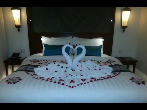 honeymooner set up | hotel bed room decor | hotel room set up - YouTube