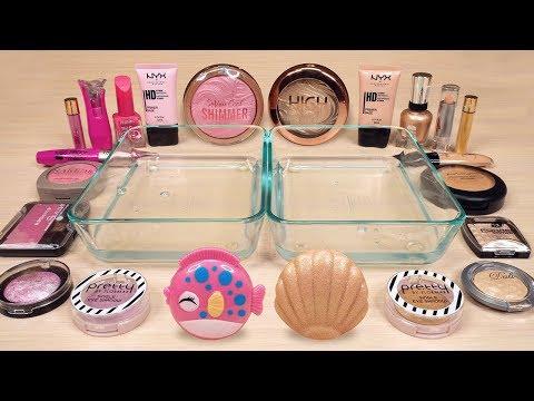 Pink vs Beige – Mixing Makeup Eyeshadow Into Slime | ASMR Satisfying Slime Video 36