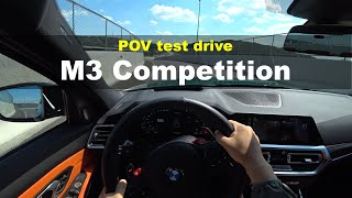 2022 BMW new M3 Competition POV test drive